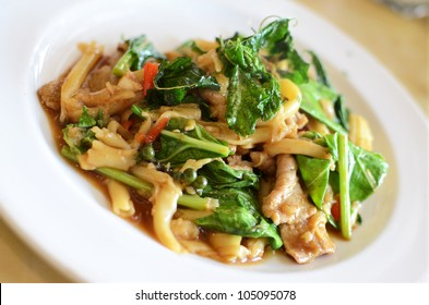 Asian style noodle with pork and vegetables , Asian style food