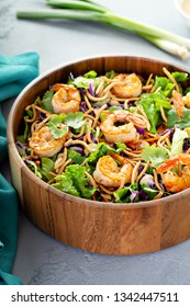 Asian style salad slaw with shrimp, almonds and red cabbage