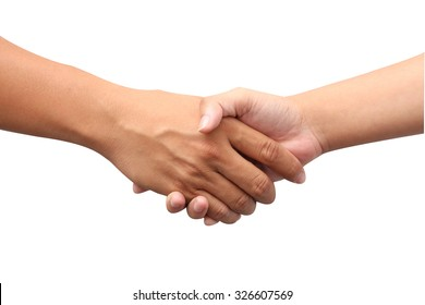 Asian successful business man and Asian successful woman handshaking for a great contract.