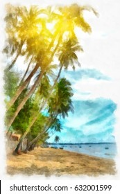 Asian Sunny Beach with palm trees. Digital Watercolor