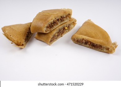 Asian sweet pancake on white background