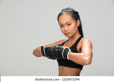 0977614f86331 Asian Tan Skin Fitness woman exercise punch air wear Boxing Gloves Black sport  bra mulberry purple