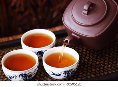Asian tea set on bamboo mat,Closeup.