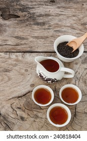 asian tea set on wood background