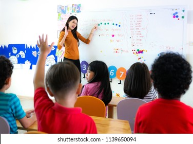 Asian teacher in an international school in class room, this immage can use for education, kid, class,student and kid concept
