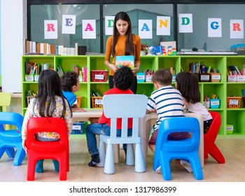 Asian Teacher lady in preschool teaching her student in classroom. this immage can use for education, school, and job concept