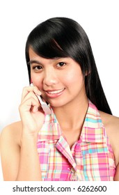 Asian Teen using her Cellphone