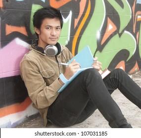 Asian teenage student studying