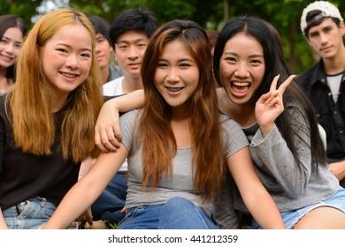 Asian teenager friends park