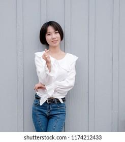 Asian teenager.  happy smiling asian teen girl portrait.smiling at camera