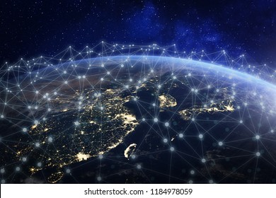 Asian telecommunication network connected over Asia, China, Japan, Korea, Hong Kong, concept about internet and global communication technology for finance, blockchain or IoT, elements from NASA
