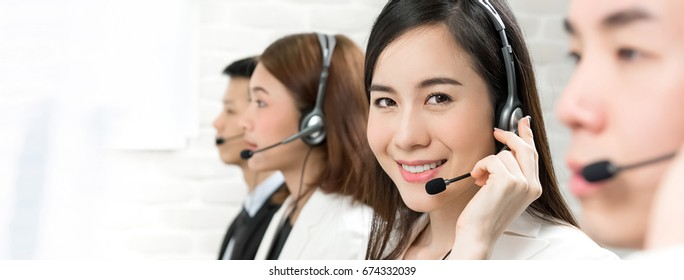 Asian telemarketing customer service agents, call center job concept - panoramic banner