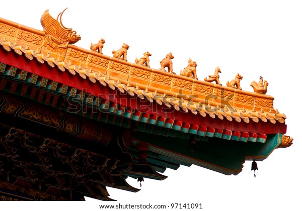 asian temple roof  isolated on white background