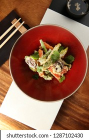 Asian tempura vegetable salad restaurant served top view
