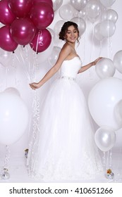 Asian Thai Female Woman Model People in Wedding Dress with White Red Balloon, Fashion Make Up, Studio Lighting on White Background