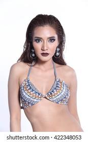 Asian Thai Female Woman Model in Grey Dot Bikini Sport Swim wear Suit Wet Hair, Studio Lighting Shadow on White Background, Sexy Pose Stand half body