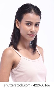 Asian Thai India Female Model People with Natural Beauty Clean Look Tan Skin Fashion Make Up style in White background in Studio Lighting, the concept of health, Strong Face, Isolated