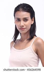 Asian Thai India Female Model Woman Tan Skin in Pink Vest with Studio Lighting, half body
