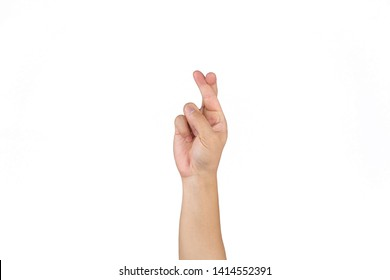 Asian Thai male hand cross finger for goodluck on the clear white background.