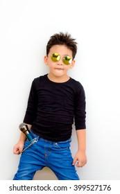 Asian Thai smart kid are musician and rocker star
