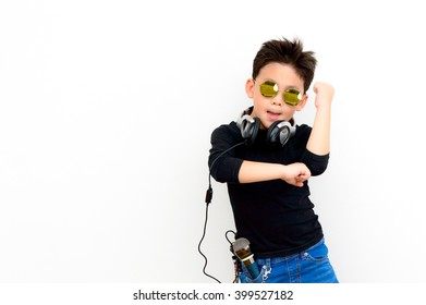 Asian Thai smart kid are musician and rocker star
