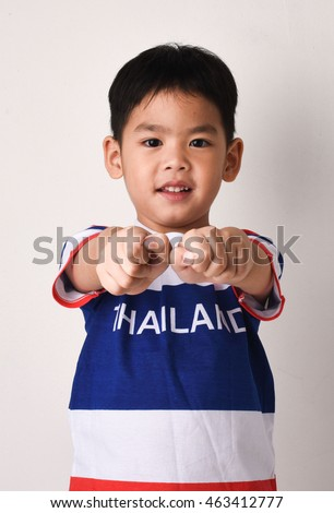 d1e75be21 Asian Thailand boy studio shot acting isolate in white background