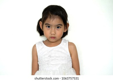 Asian Thailand Kids cute little girl In white dress