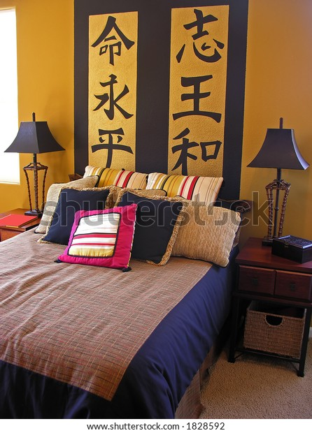 Asian Themed Bedroom Interior Inside Home Stock Photo (Edit ...