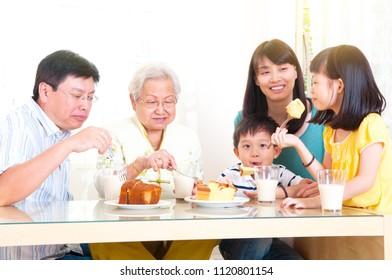 Asian three generations family enjoyed tea time