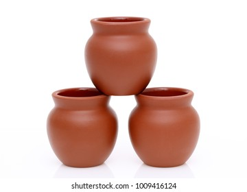asian traditional clay pots on white background