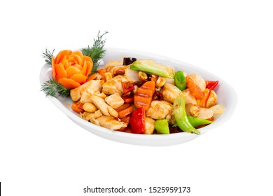 Asian traditional food Kung Pao Chicken and vegetables in bowl plate isolated on white background.