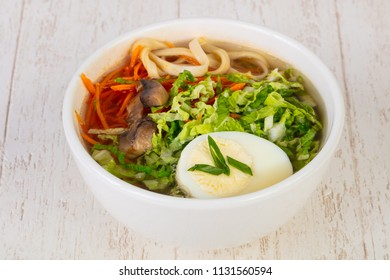 Asian traditional Ramen soup with egg