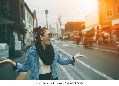 asian traveller happiness emotion on otaru street one of most popular traveling destination in sapporo hokkaido japan