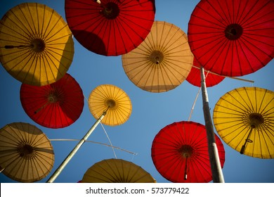 asian umbrella at the Ban Saonak House in the old town of the city of Lampang in North Thailand.