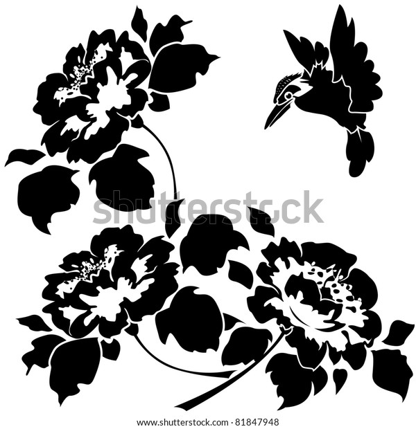 Asian Wallpaper with flowers and birds. Seamless. Raster version.