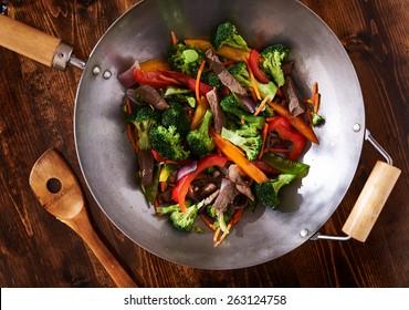 asian wok stir fry shot from over head