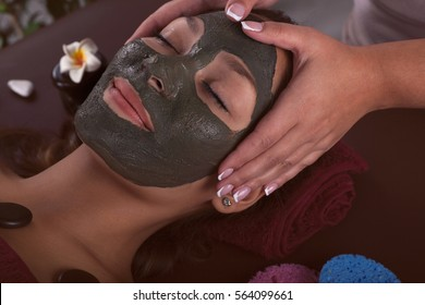 asian womam in spa treatment,facial mask with algae