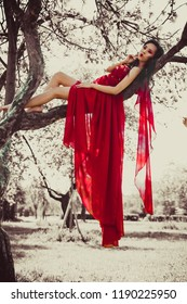 Asian woman in beautiful red dress sitting on tree