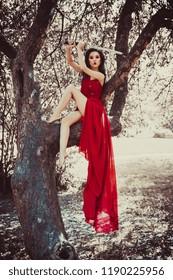 Asian woman in beautiful red dress sitting on tree