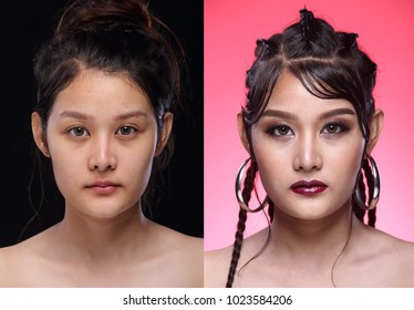 Asian Woman before after  applying make up weaving hair style. no retouch, fresh face with nice and smooth skin. Studio lighting black Pink background