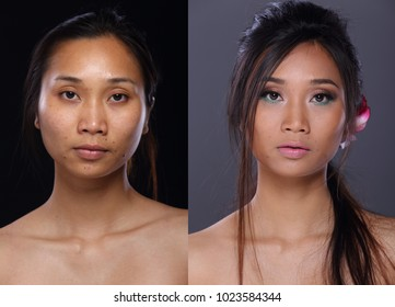 Asian Woman before after  applying make up hair style. no retouch, fresh face with nice and smooth skin. Studio lighting black gray background