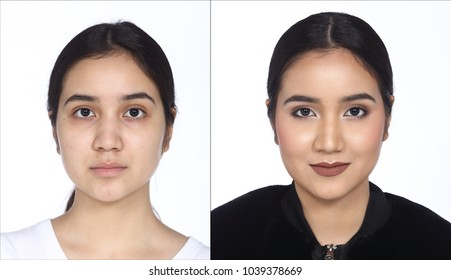 Asian Woman before after applying make up hair style. no retouch, fresh face with nice and smooth skin. Studio lighting white background