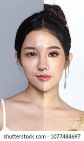 Asian Woman before after applying make up hair style. no retouch, fresh face with nice and smooth skin. Studio lighting white gray background separated
