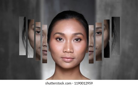 Asian Woman before after applying make up cosmetic hair style. fresh face with acne, wart, bag under eyes, rough, nice and smooth skin, comparison from morning face to beautiful plastic surgery