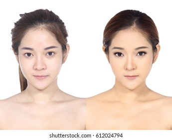 Asian Woman before and after make up hair style. no retouch, fresh face with acne, skin moles, wart then good base and foundation cosmetic