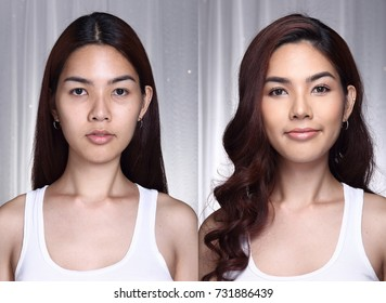 Asian Woman before after make up hair style. no retouch, fresh face with nice and smooth skin. Studio lighting grey background