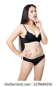 asian woman black bikini and white background in studio