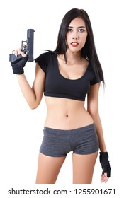 asian woman in black clothes and short holding her gun