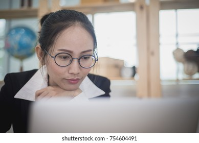Asian woman business owner work at home