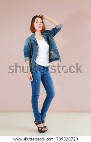ba5d4d6eac Asian Woman Casual Outfits Standing Jeans Stock Photo (Edit Now ...